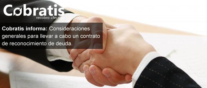 Consideraciones contrato de reconocimiento de deuda - Cobratis